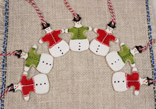 Load image into Gallery viewer, Ceramic Snowman Ornament with Sweater