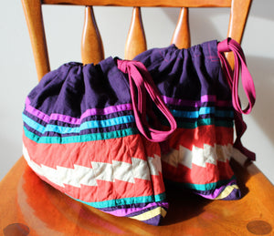 Upcycled Cotton Knitting Project Bag - Festivity Pattern