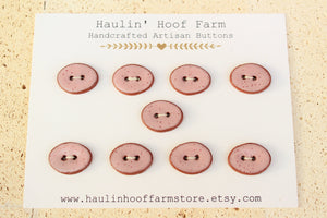 Oval Ceramic Buttons - Speckled Pink on Red Clay