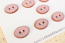 Load image into Gallery viewer, Oval Ceramic Buttons - Speckled Pink on Red Clay