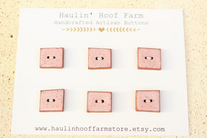 Square Ceramic Buttons - Speckled Pink - Hand Cut