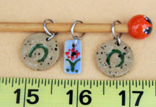 Load image into Gallery viewer, Knitting Stitch Markers - Set of 3 - Flower and Horseshoe
