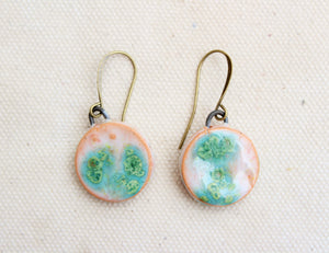 Round Drip Glaze Ceramic Earrings - Blue Green + White + Turquoise