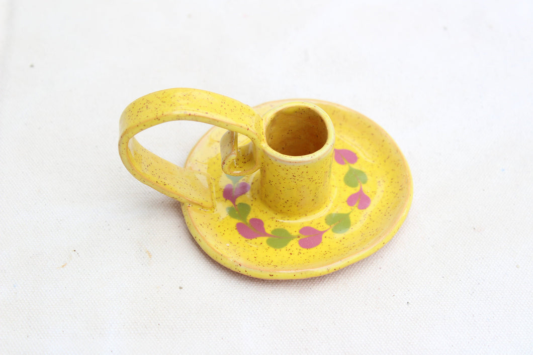 Ceramic Candlestick Holder with Handle - Chamberstick - Taper Holder - Candle Holder - Speckled Yellow + Olive Green + Purple