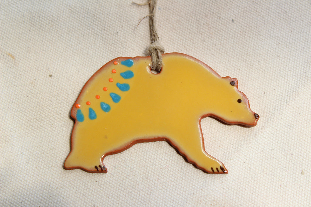 Bear Ornament - Yellow Decorative Grizzly Bear Ornament