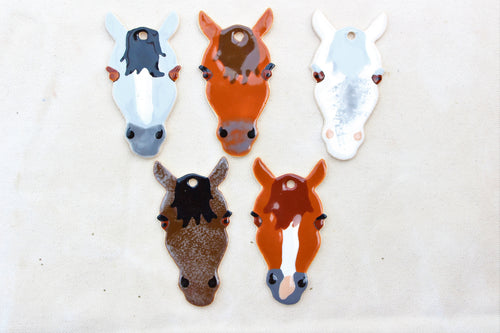 Horse Ornaments - Hand Painted Horse Ornament - Animal Ornament - Horse Decoration - Gift for Horse Lover - Horse Pottery - Ceramic Horses