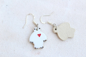 Yeti Earrings - White Yeti Earrings - Abominable Snowman - Yeti with Heart Earrings