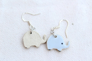 Gray Elephant Earrings - Little Elephant Earrings - Elephant Jewelry