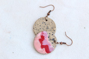 Round Glazed Ceramic Earrings - Pink + Red + Brown - Colorful Ceramic Earrings - Handcrafted Artistic Earrings - Hand Painted on Brown Clay