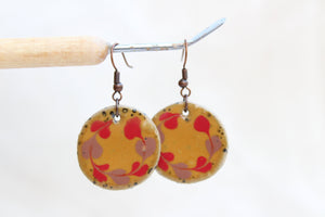 Round Glazed Ceramic Earrings - Red + Purple + Brown - Colorful Ceramic Earrings - Handcrafted Artistic Earrings - Hand Painted Design