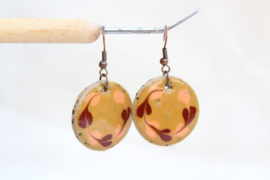 Round Glazed Ceramic Earrings - Brown + Orange - Colorful Ceramic Earrings - Handcrafted Artistic Earrings - Hand Painted Design