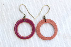 Plum Ceramic Hoop Earrings