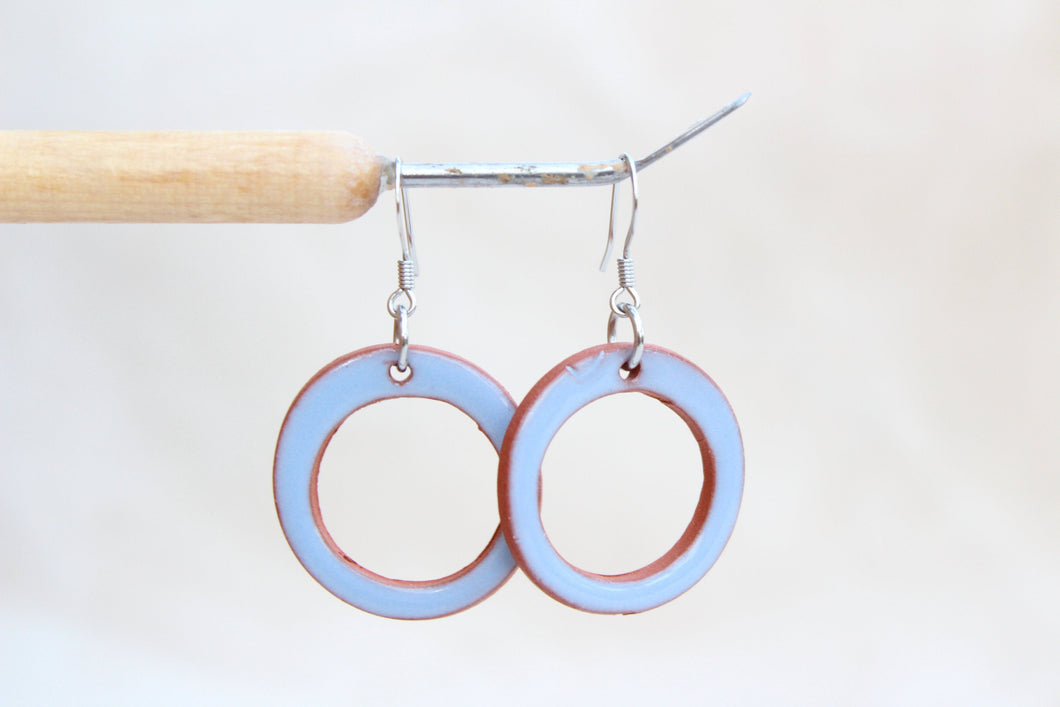 Sky Blue Ceramic Hoop Earrings