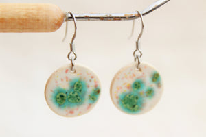 Drip Ceramic Earrings - Blue-Green
