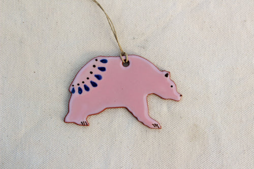 Bear Ornament - Pink Decorative Grizzly Bear Ornament