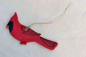 Cardinal Bird Ornament - Hand Painted Bird Ornament