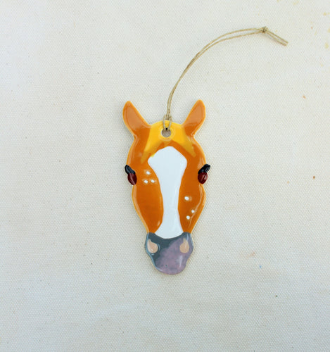Brown + White Blaze Horse Ornament - Hand Painted Horse Ornament
