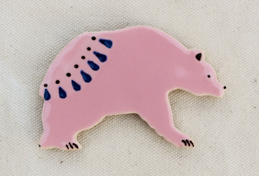 Bear Magnet - Decorative Grizzly Bear Magnet - Pink