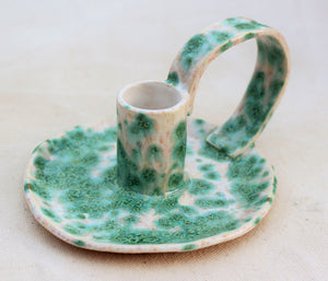 Ceramic Candlestick Holder with Handle - Chamberstick - Taper Holder - Candle Holder - Speckled Blue-Green + White - Candle Holder Pottery