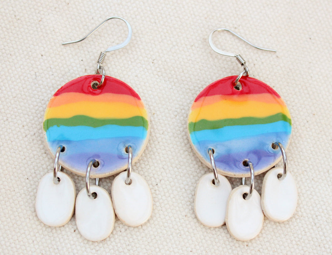 Ceramic Rainbow + Clouds Dangle Earrings