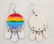 Load image into Gallery viewer, Ceramic Rainbow + Clouds Dangle Earrings