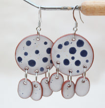 Load image into Gallery viewer, White + Blue Polka Dot Ceramic Dangle Earrings