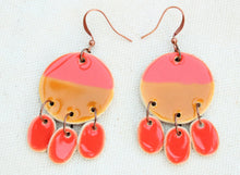 Load image into Gallery viewer, Ceramic Dangle Earrings - Coral + Brown - Large Ceramic Earrings - Handcrafted Artistic Earrings