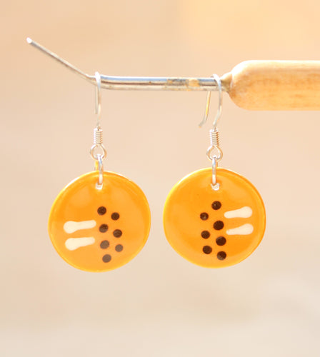 Orange Glazed Ceramic Earrings - Line and Dot Pattern