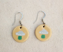 Load image into Gallery viewer, Mushroom Earrings - Ceramic Mushroom Earrings - Tan + Gray + Green Toadstools