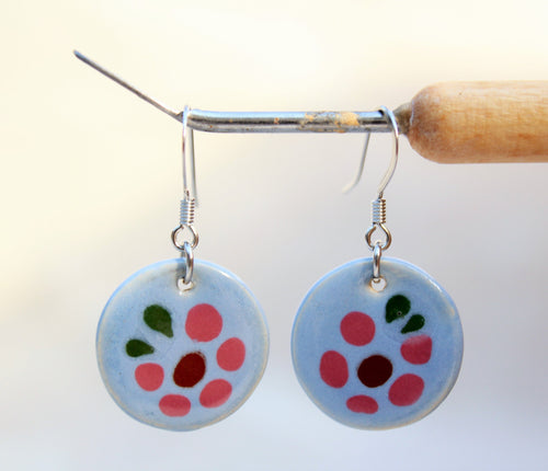 Blue Glazed Ceramic Earrings - Blue Flower Pattern - Blue + Pink
