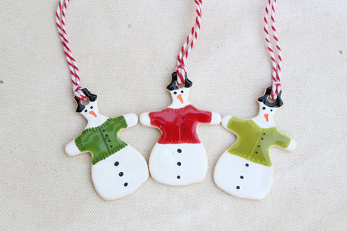 Cute Snowman Ornament- Snowman In Clothes - Dressed Snowman Ornament