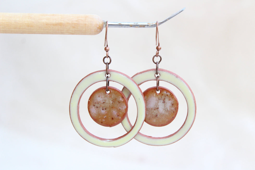 Circular Ceramic Earrings - Creamy Yellow + Caramel Brown Speckle - Handcrafted Artistic Earrings