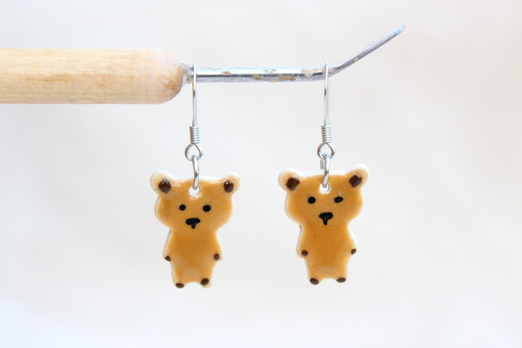 Teddy Bear Earrings - Little Brown Bear Earrings