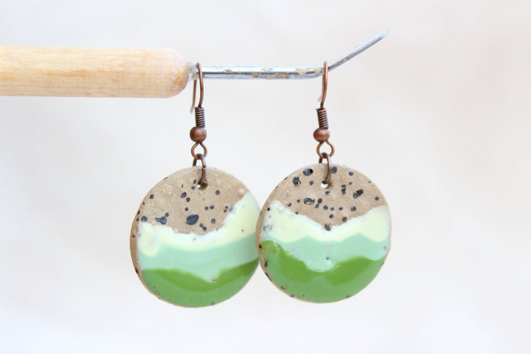 Round Glazed Ceramic Earrings - Green + Brown - Colorful Ceramic Earrings - Handcrafted Artistic Earrings - Hand Painted on Brown Clay