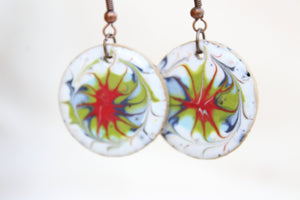 Round Glazed Ceramic Earrings - White + Red + Green + Blue - Colorful Ceramic Earrings - Handcrafted Artistic Earrings - Hand Painted Design