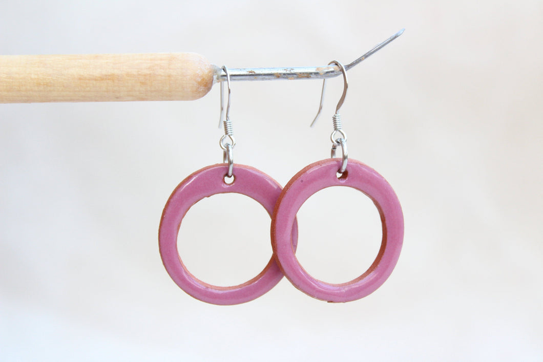 Mauve Ceramic Hoop Earrings