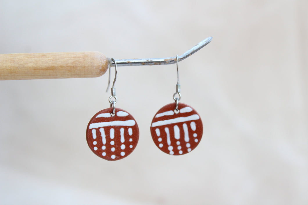 Round Glazed Ceramic Earrings - Line and Dot Pattern - Brown + White