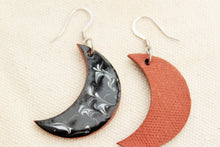 Load image into Gallery viewer, Black and White Moon Earrings - Ceramic Moon Earrings - Pottery Earrings - Crescent Moon Jewelry - Moon Decor- Handcrafted Artistic Earrings