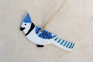 Blue Jay Bird Ornament - Hand Painted Bird Ornament