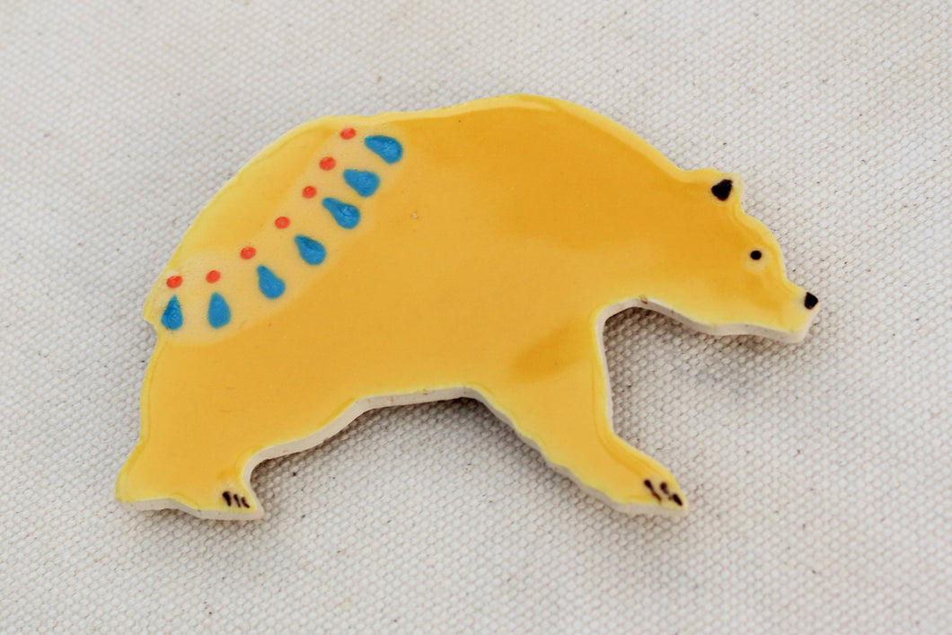 Bear Magnet - Decorative Grizzly Bear Magnet - Yellow