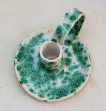 Load image into Gallery viewer, Ceramic Candlestick Holder with Handle - Chamberstick - Taper Holder - Candle Holder - Speckled Blue-Green + White - Candle Holder Pottery