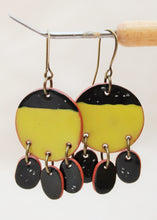 Load image into Gallery viewer, Chartreuse + Black  Dangle Earrings - Ceramic Dangle Earrings - Large Minimalist Earrings - Handcrafted Artistic Earrings