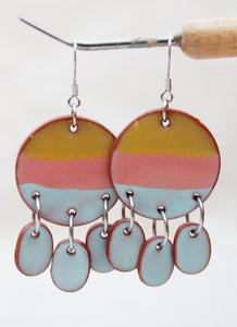 Blue + Coral + Yellow Dangle Earrings - Ceramic Dangle Earrings