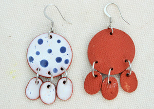 White + Blue Polka Dot Ceramic Dangle Earrings