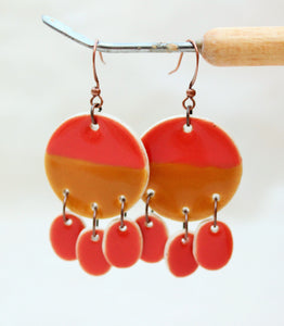 Ceramic Dangle Earrings - Coral + Brown - Large Ceramic Earrings - Handcrafted Artistic Earrings