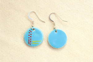 Blue Glazed Ceramic Earrings - Line and Dot Pattern - Blue + Red + Yellow