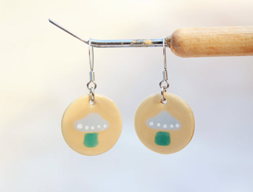 Mushroom Earrings - Ceramic Mushroom Earrings - Tan + Gray + Green Toadstools