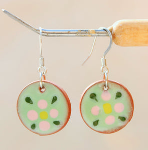 Pink Flower Earrings - Flower Pattern - Green + Pink + Yellow