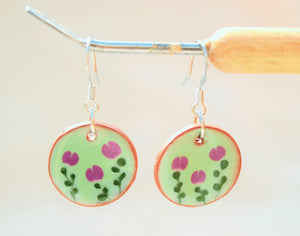 Purple Flower Earrings - Flower Pattern - Green + Purple
