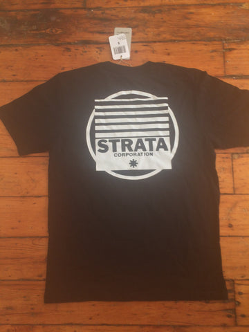 Strata Records logo T Shirt-Black
